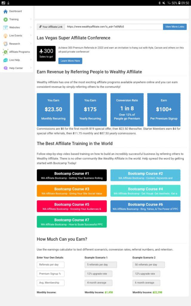 Wealthy affiliate affiliate program image